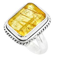 925 silver 8.03cts faceted golden rutile solitaire ring jewelry size 7.5 p76528