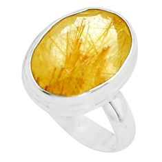 925 silver 10.37cts faceted golden rutile solitaire ring jewelry size 7 p76550