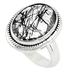 925 silver faceted natural black tourmaline rutile solitaire ring size 7 p76475