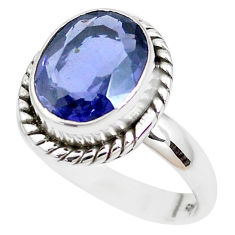 925 silver 5.10cts faceted natural blue iolite solitaire ring size 7.5 p41777