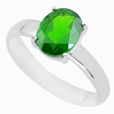 925 silver 3.18cts faceted natural chrome diopside solitaire ring size 9 p63804