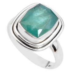 925 silver 5.79cts faceted natural grandidirite solitaire ring size 7.5 p41713