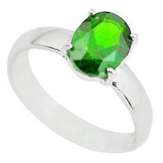 925 silver faceted natural green chrome diopside solitaire ring size 8 p63766