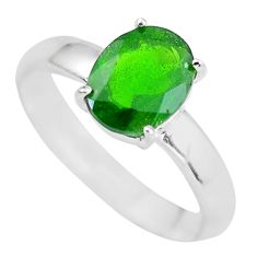 925 silver faceted natural green chrome diopside solitaire ring size 8 p63779