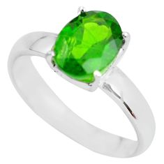 925 silver faceted natural green chrome diopside solitaire ring size 7 p63792