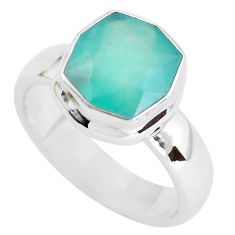 925 silver 5.94ct faceted natural green gem silica solitaire ring size 10 p54418