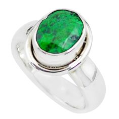 925 silver faceted natural green maw sit sit solitaire ring size 5.5 p54529