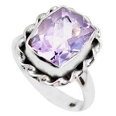925 silver faceted natural lavender amethyst solitaire ring size 8 p41770
