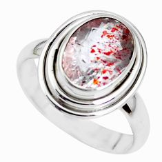 925 silver faceted natural red strawberry quartz solitaire ring size 8 p41744