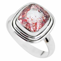 925 silver faceted natural red strawberry quartz solitaire ring size 8.5 p41753
