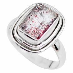 925 silver faceted natural red strawberry quartz solitaire ring size 8 p41756