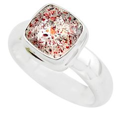 925 silver faceted natural red strawberry quartz solitaire ring size 10 p54324