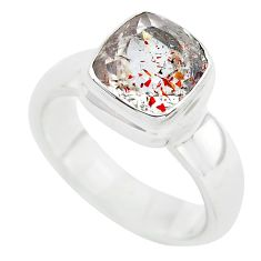 925 silver faceted natural red strawberry quartz solitaire ring size 6.5 p54328