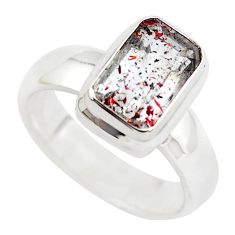 925 silver faceted natural red strawberry quartz solitaire ring size 6.5 p54493