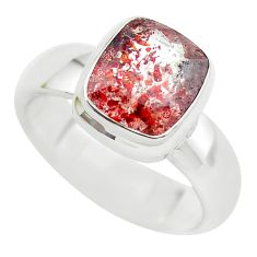 925 silver faceted natural red strawberry quartz solitaire ring size 8 p54498