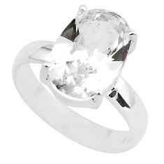 925 silver 4.80cts faceted natural white goshenite solitaire ring size 7 p54228