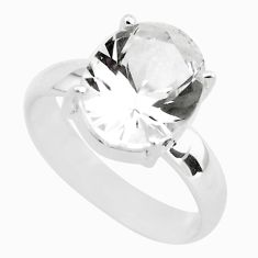 925 silver 4.80cts faceted natural white goshenite solitaire ring size 7 p54236