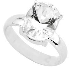 925 silver 4.87cts faceted natural white goshenite solitaire ring size 7 p54240