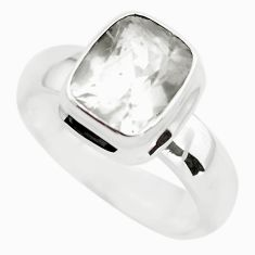 925 silver 4.45cts faceted natural white pollucite solitaire ring size 10 p54376