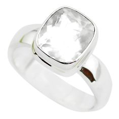 925 silver 5.21cts faceted natural white pollucite solitaire ring size 9 p54379