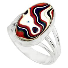 925 silver 9.47cts fordite detroit agate oval solitaire ring size 9 p79236