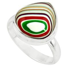 925 silver 7.50cts fordite detroit agate solitaire ring jewelry size 8.5 p79240