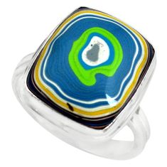 925 silver 7.89cts fordite detroit agate solitaire ring jewelry size 8.5 p79252