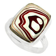 925 silver 6.84cts fordite detroit agate solitaire ring jewelry size 8.5 p79259