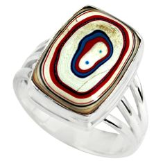 925 silver 7.33cts fordite detroit agate solitaire ring jewelry size 7.5 p79284