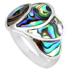 925 silver 5.48gms green abalone paua seashell ring jewelry size 5.5 c4178