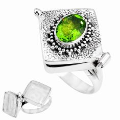 925 silver 2.99cts green alexandrite (lab) oval poison box ring size 6.5 p44880