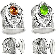 925 silver 3.31cts green alexandrite (lab) poison box ring size 7.5 p75580