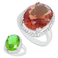 925 silver 11.46cts green alexandrite (lab) white topaz ring size 8 c1137