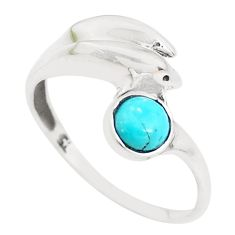 925 silver 0.99cts green arizona mohave turquoise dolphin ring size 8 p39196