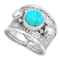925 silver 5.01cts green arizona mohave turquoise pearl ring size 6.5 p68494
