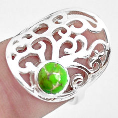 925 silver 1.45cts green copper turquoise solitaire ring jewelry size 6 p40315