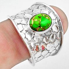 925 silver 3.29cts green copper turquoise solitaire ring jewelry size 9 p74847
