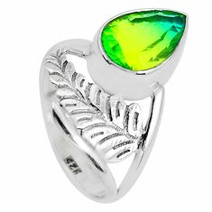 925 silver 4.93cts green tourmaline (lab) solitaire ring jewelry size 6.5 d31449