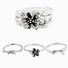 925 silver 6.21gms indonesian bali style solid flower 3 rings size 7 p48608