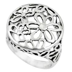 925 silver 5.26gms indonesian bali style solid flower charm ring size 7.5 c3640