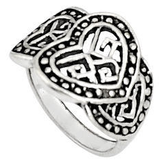 925 silver 6.48gms indonesian bali style solid heart ring jewelry size 7.5 c5260
