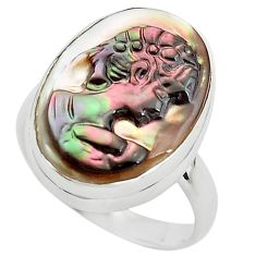 925 silver 11.26cts lady face natural titanium cameo on shell ring size 7 p80108