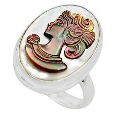 925 silver 11.74cts lady face natural titanium cameo on shell ring size 7 p80119