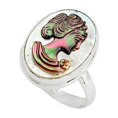 925 silver 12.07cts lady face natural titanium cameo on shell ring size 8 p80124