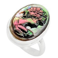925 silver 12.62cts lady face natural titanium cameo on shell ring size 7 p80136