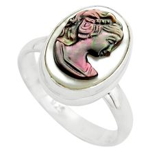 925 silver 5.96cts lady face natural titanium cameo on shell ring size 8 p80144