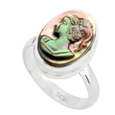 925 silver 5.96cts lady face natural titanium cameo on shell ring size 7 p80152