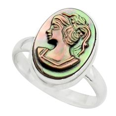 925 silver 5.64cts lady face natural titanium cameo on shell ring size 7 p80159