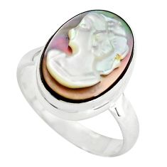925 silver 5.45cts lady face natural titanium cameo on shell ring size 6 p80164