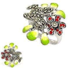 925 silver multi color enamel garnet marcasite bird flower ring size 8 h52678